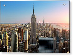Empire State Building At Sunset Acrylic Print