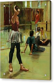 English National Ballet Dancers In The Studio Acrylic Print by Podi Lawrence