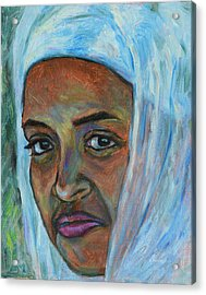 Acrylic Print featuring the painting Ethiopian Lady by Xueling Zou