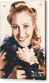 Fifties Pinup Woman Seeing Movie At Retro Cinema Acrylic Print