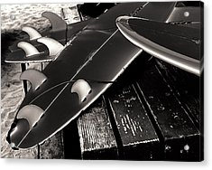 Fins And Boards Acrylic Print by Ron Regalado