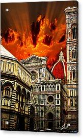 Firenze La Cattedrale Di Santa Maria Del Fiore - Florence The Cathedral Of Santa Maria Del Fiore Acrylic Print by Ze  Di