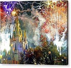 Fireworks Cinderellas Castle Walt Disney World Acrylic Print by A Gurmankin