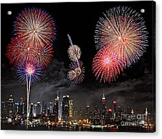 Fireworks Over New York City Acrylic Print by Roman Kurywczak