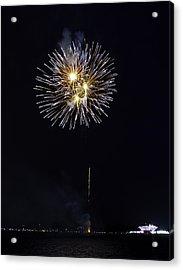 Fireworks Shell Burst Over The St Petersburg Pier Acrylic Print by Jay Droggitis