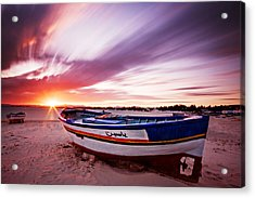 Acrylic Print featuring the photograph Fishing Boat At Sunset / Tunisia by Barry O Carroll