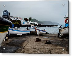 Fishing Boats On Wharf With View Of Houses  Acrylic Print