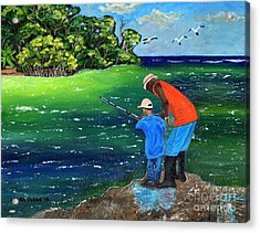 Acrylic Print featuring the painting Fishing Buddies by Laura Forde