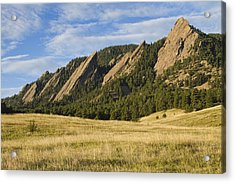Flatirons With Golden Grass Boulder Colorado Acrylic Print