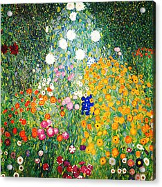 Acrylic Print featuring the painting Flower Garden by Gustav Klimt