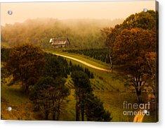 Foggy Autumn Country Road Acrylic Print