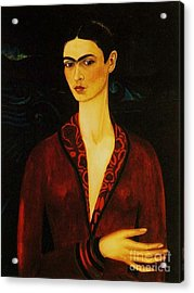 Frida Kahlo Self Portrait Acrylic Print by Pg Reproductions