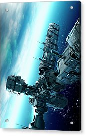 Futuristic Space Station Acrylic Print by Victor Habbick Visions
