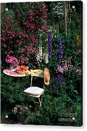 Garden With Chair Acrylic Print by Hans Reinhard