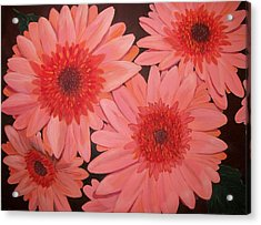 Acrylic Print featuring the painting Gerber Daisies by Sharon Duguay