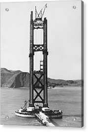 Ggb Tower Under Construction Acrylic Print by Underwood Archives