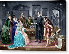 Gilbert Shows Electricity To Elizabeth I Acrylic Print by Science Photo Library