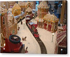 Gingerbread House Miniature Train Acrylic Print by Ellen Tully
