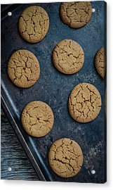 Gingersnap Cookies For Christmas On A Baking Pan Acrylic Print