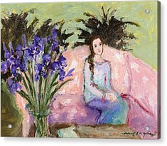 Girl With Iris Acrylic Print