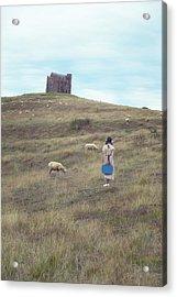 Girl With Sheeps Acrylic Print