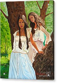 Girls In The Woods Acrylic Print by Kostas Dendrinos