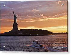 Glorious Sunset Over New York Acrylic Print