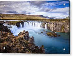 Godafoss Waterfall Acrylic Print by Alexey Stiop