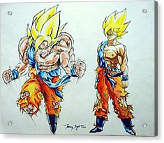 Goku In Action Acrylic Print by Tanmay Singh