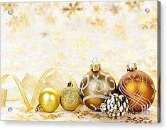 Golden Christmas Ornaments  Acrylic Print