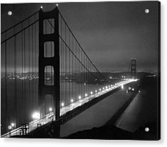 Golden Gate Bridge At Night Acrylic Print by Underwood Archives