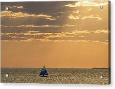 Golden Sail On Menemsha Bight Acrylic Print