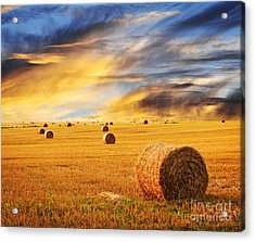 Golden Sunset Over Farm Field With Hay Bales Acrylic Print