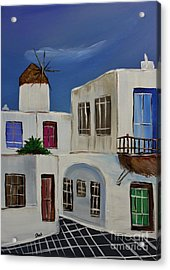 Acrylic Print featuring the painting Greek Village by Janice Rae Pariza