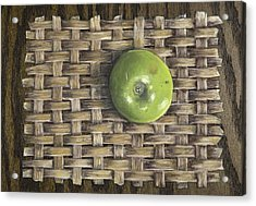 Acrylic Print featuring the painting Green Apple On Basket by Claude Schneider