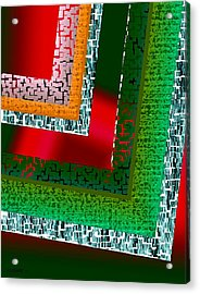Green Geometric Art Acrylic Print by Mario Perez
