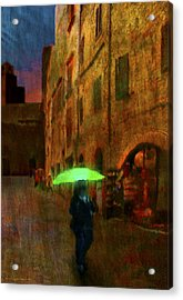 Green Umbrella Acrylic Print by Patrick J Osborne