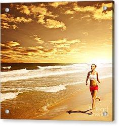 Healthy Woman Running On The Beach Acrylic Print by Anna Om