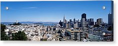 High Angle View Of A City, Coit Tower Acrylic Print by Panoramic Images
