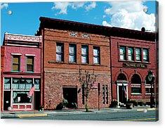 Historic Buildings Along Main Street Acrylic Print by Nik Wheeler