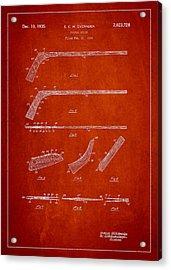 Hockey Stick Patent Drawing From 1934 Acrylic Print