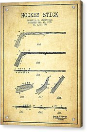 Hockey Stick Patent Drawing From 1935 Acrylic Print
