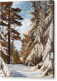 Acrylic Print featuring the painting Holland Lake Lodge Road - Montana by Mary Ellen Anderson