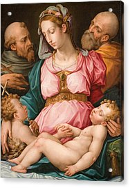 Holy Family With The Infant Saint John The Baptist And Saint Francis Acrylic Print by Giorgio Vasari