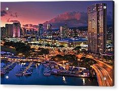 Acrylic Print featuring the photograph Honolulu City Lights by Hawaii  Fine Art Photography