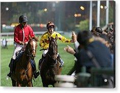 Horse Racing In Hong Kong - Happy Valley Racecourse Acrylic Print by Lo Chun Kit