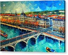 Hotel Dieu De Lyon Acrylic Print by Mona Edulesco