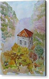 House Between Mountains Acrylic Print by Ghazi Toutounji