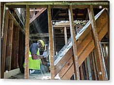 House Deconstruction And Recycling Acrylic Print by Jim West