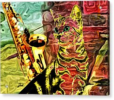 Jazz Acrylic Print by Ze  Di